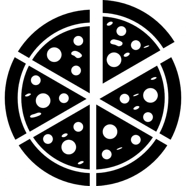 Italian pizza cut into slices - PNG Pizza Black And White