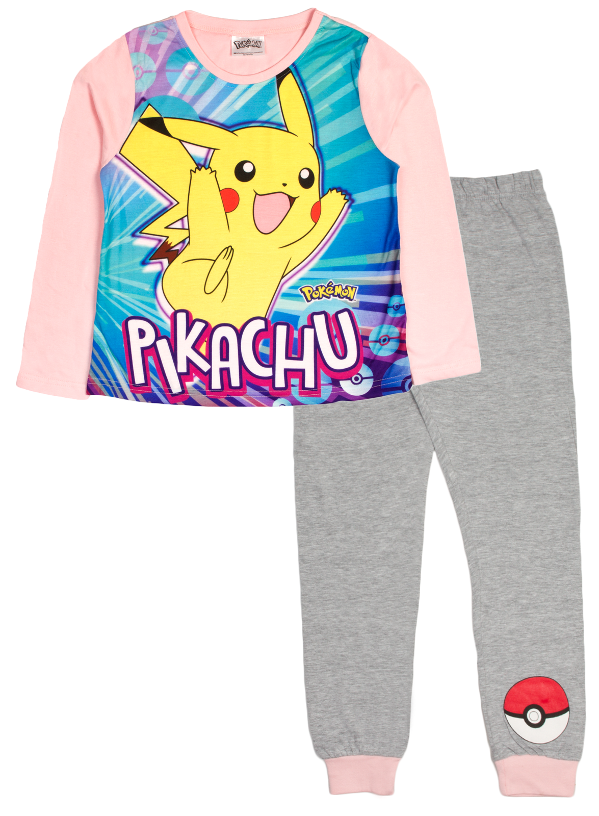 Girls Pokemon Go Pyjamas Full Length Pikachu Pjs 2 Piece Pyjama Set Kids  Size - PNG Pyjamas