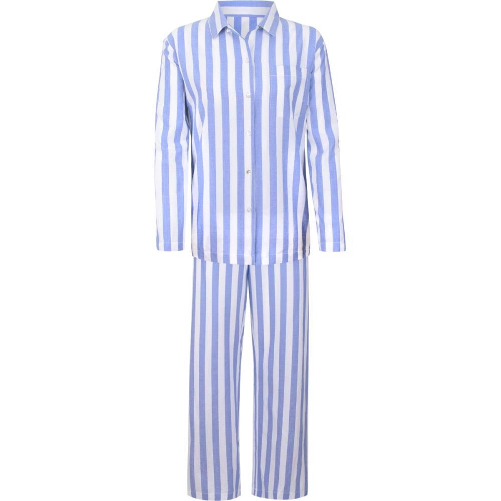 Stripe Long Sleeve Womens Pyjama Set Blue / White. u2039 - PNG Pyjamas