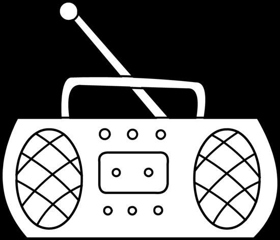 Cartoon Radio Black and White - PNG Radio Black And White