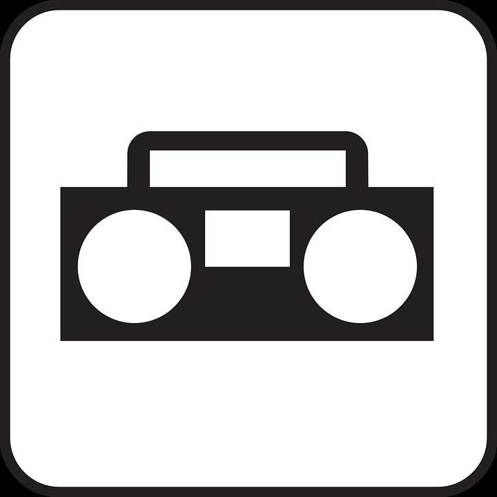 music sound radio radio cassette recorder symbol - PNG Radio Black And White