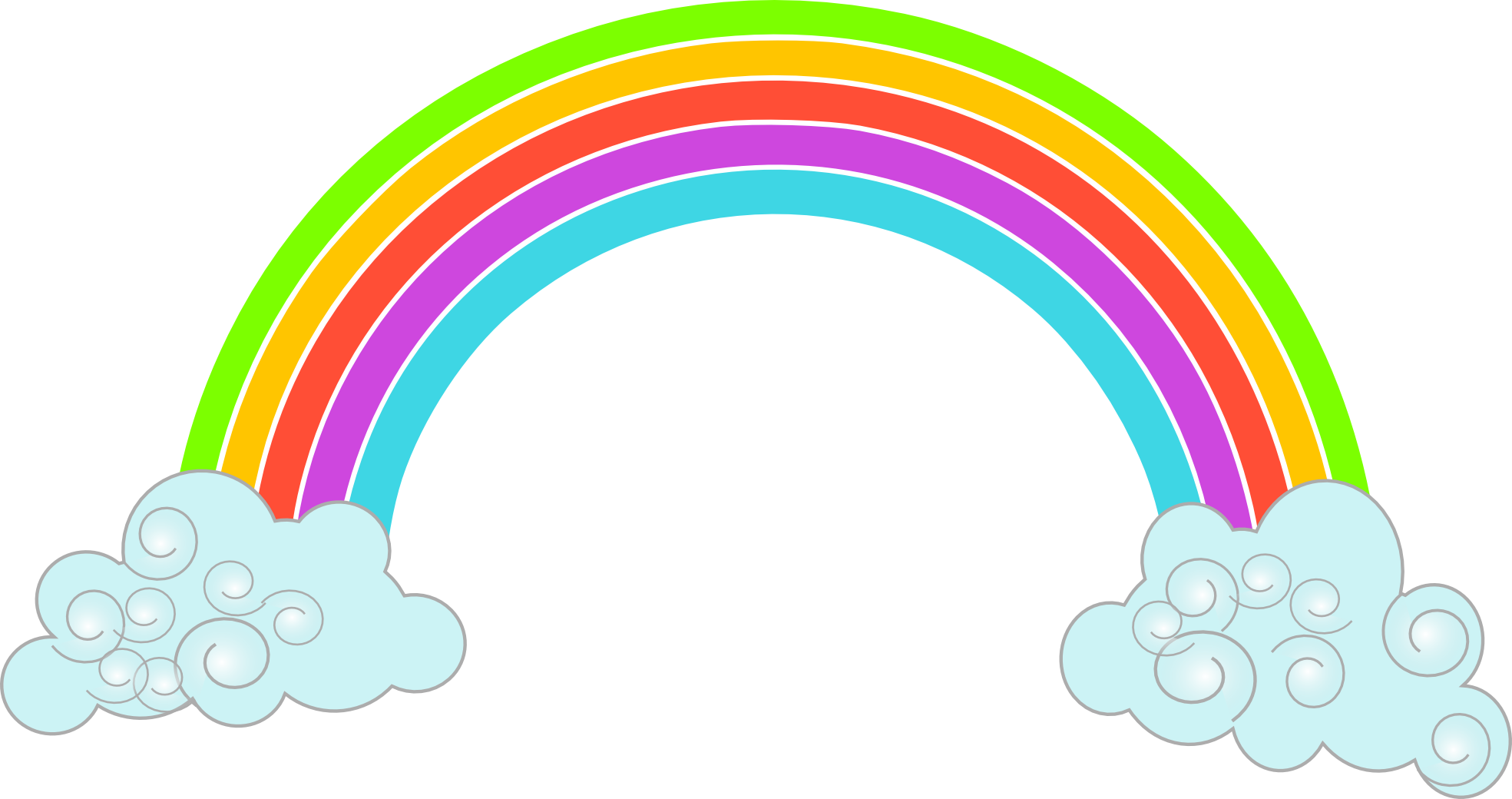 Free Clipart Rainbow Clouds Clipart - PNG Rainbow With Clouds
