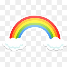 PNG Rainbow With Clouds - 65044