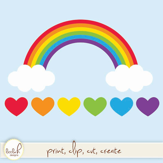 Rainbow with Clouds and Hearts - Digital Clip Art, Vector EPS File, PNG and  JPEG - PNG Rainbow With Clouds