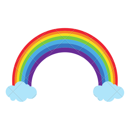 Rainbow with Clouds Vector - PNG Rainbow With Clouds