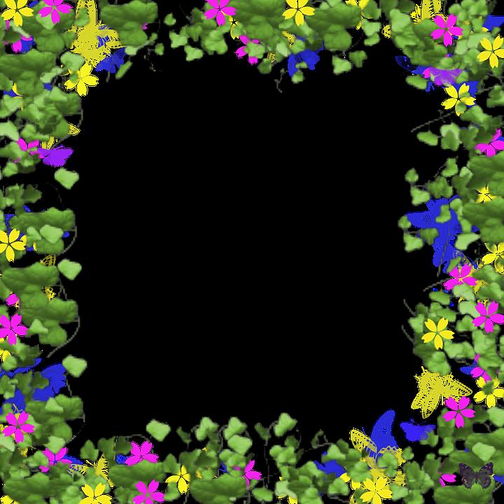 Billedramme, Digital, Blomster, Sommerfugle, Ramme - PNG Rammer Med Blomster