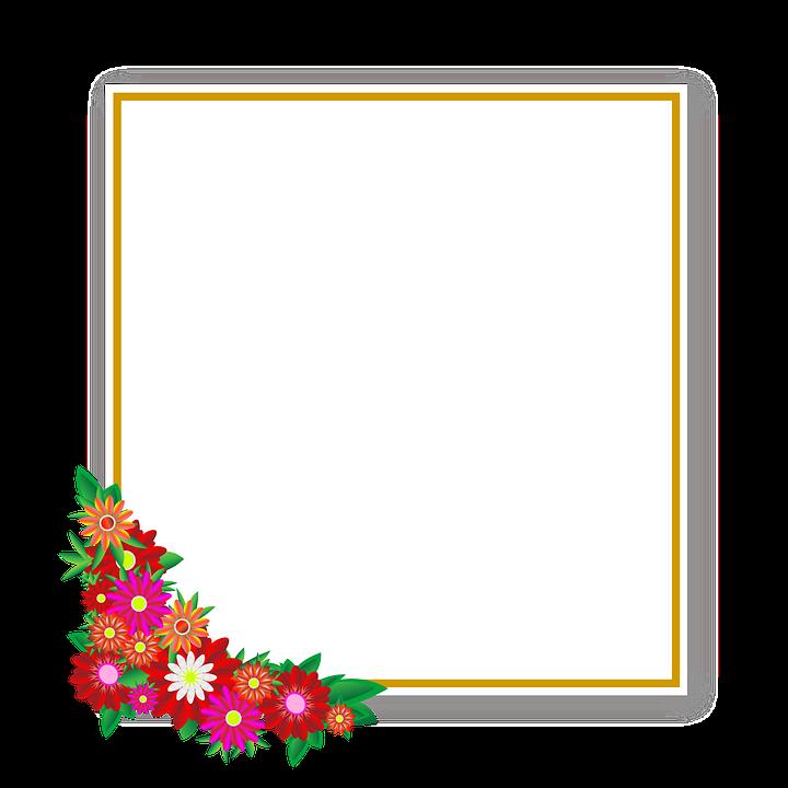Blomster, Sticker, Ramme, Square, Element, Tidsplan - PNG Rammer Med Blomster