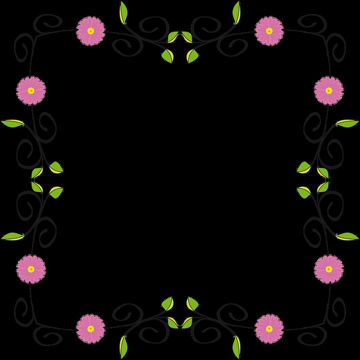 Blomstermotiver, Blomst, Blomstre, Grænse, Ramme - PNG Rammer Med Blomster