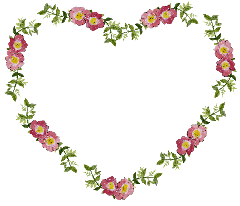 Blomstermotiver, Blomst, Ramme, Hjerte, Dekorative - PNG Rammer Med Blomster