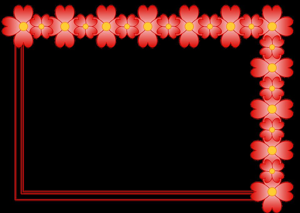 Ramme, Blomster, Billede, Foto, Kant, Rød - PNG Rammer Med Blomster