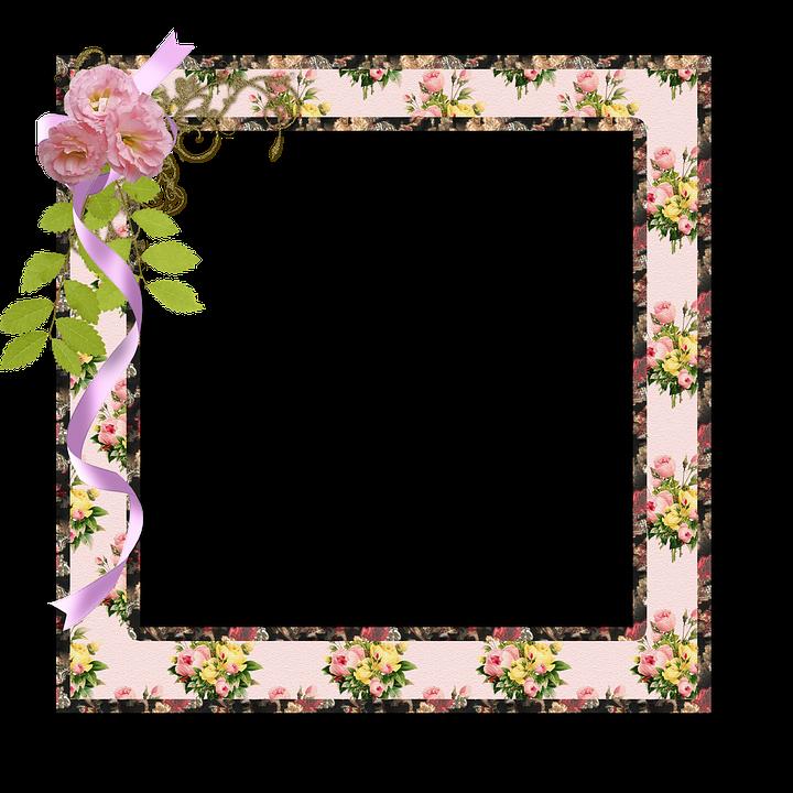 ramme foto scrapbog blomster lyserød natur kunst - PNG Rammer Med Blomster