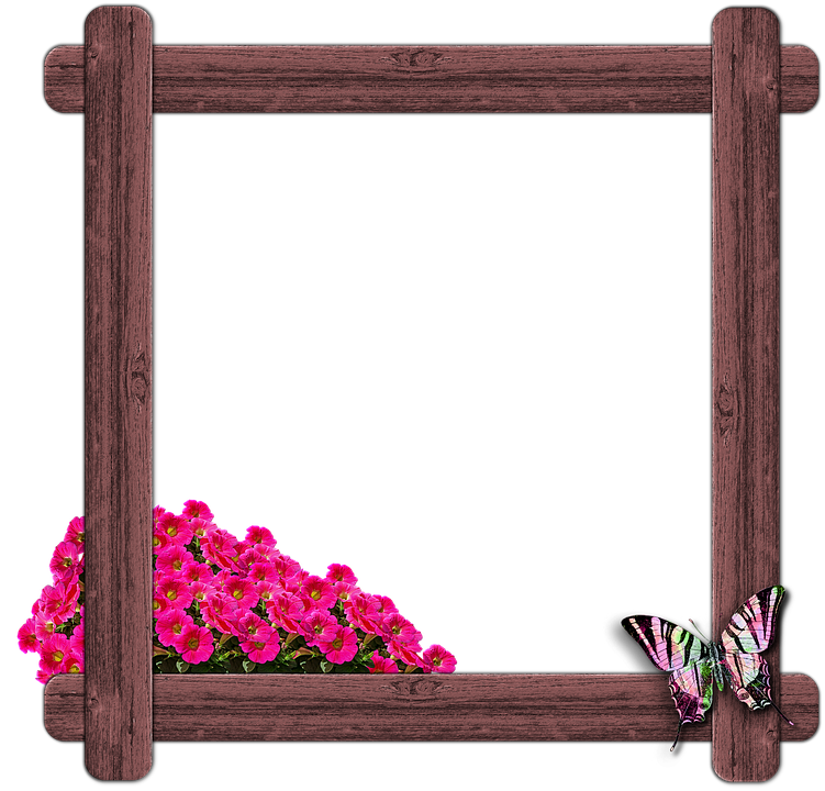 træ vindue ramme sommerfugl blomster - PNG Rammer Med Blomster