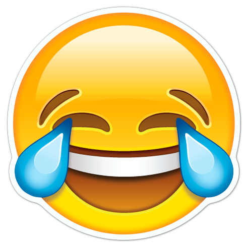 Autocollants: Rire visage avec des larmes de joie - PNG Rire