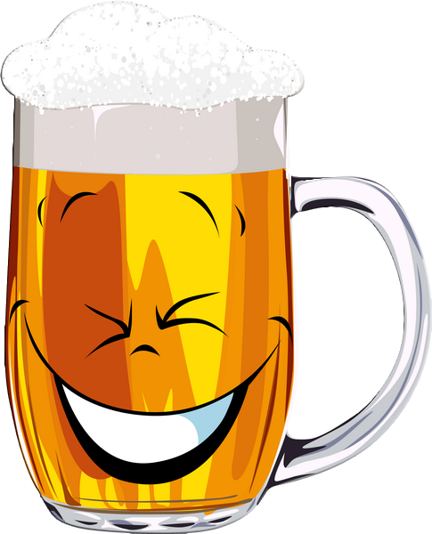 Emoticône verre de bière : rire - PNG Rire