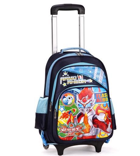 bright color kids school bag with wheels detachable trolley bags - PNG School Bag