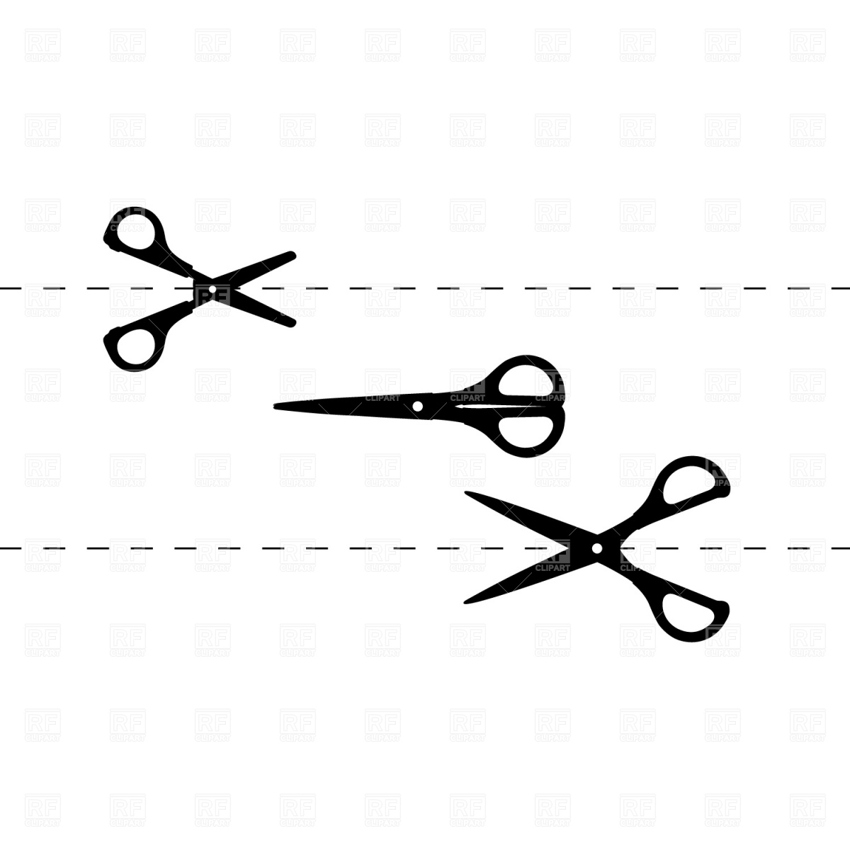 Cutting Line Cliparts #2815844 - PNG Scissors Cutting Dotted Line