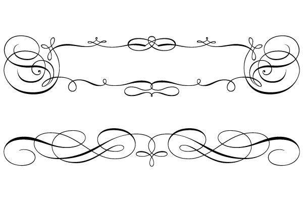 Calligraphic Swirly Scroll Frame and Border Vector - PNG Scroll Border