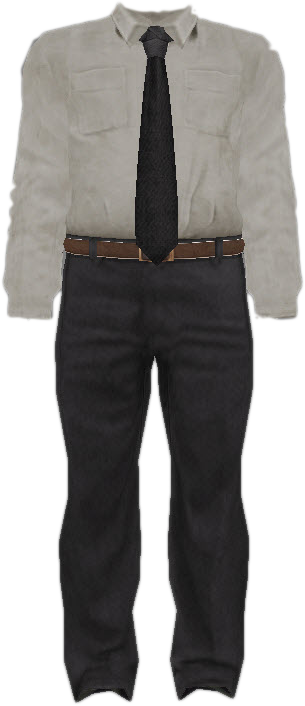 Dead rising Suit with White Dress Shirt, Black Tie, and Grey Dress Pants.png - PNG Shirt And Pants