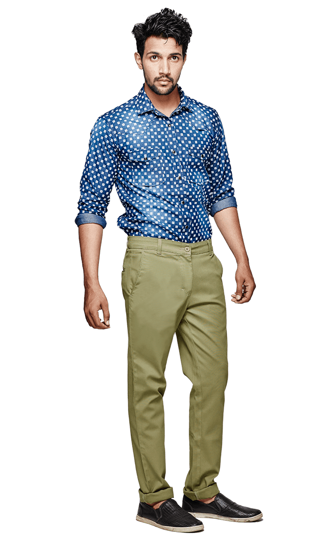. PlusPng.com Veg-Green Pants Worn By Ranbir Kapoor In Tamasha Movie PlusPng.com  - PNG Shirt And Pants