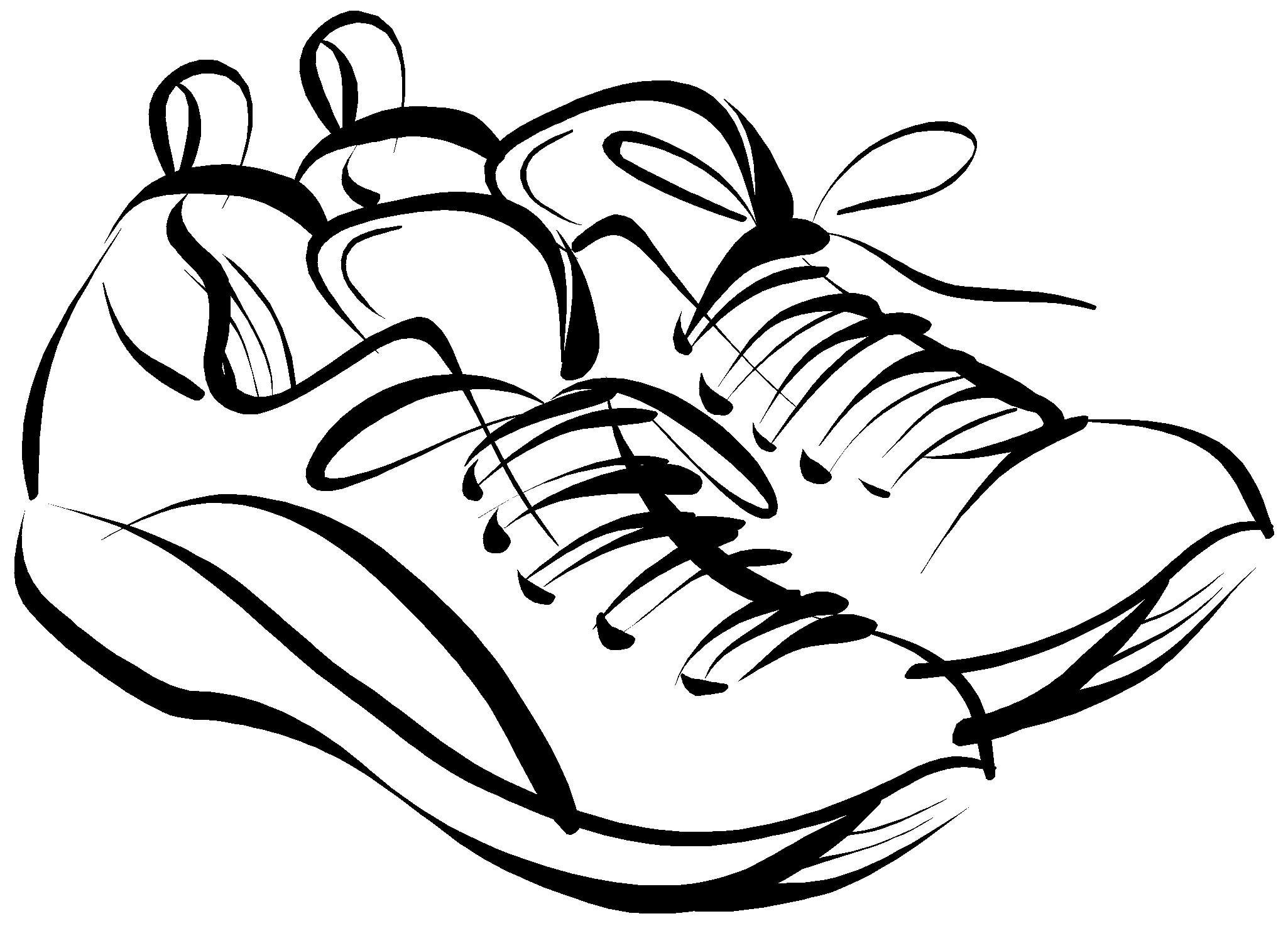pin Drawn sneakers black and white #1 - PNG Shoes Black And White