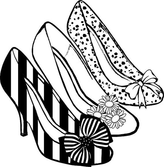 Womens high heel shoes png clip art coloring page digital stamp, graphics  imageu2026 - PNG Shoes Black And White