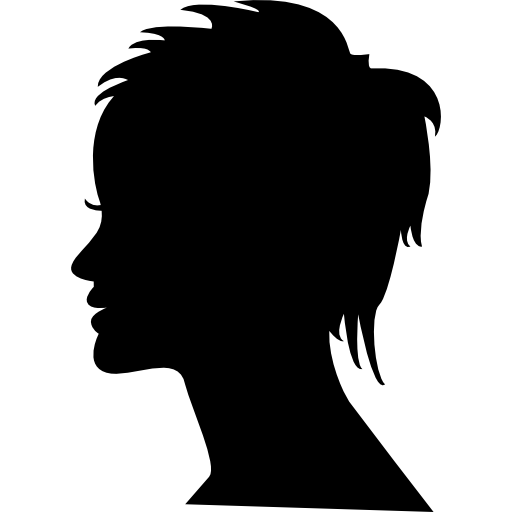 Short female hair on side view woman head silhouette free icon - PNG Silhouette Woman Head