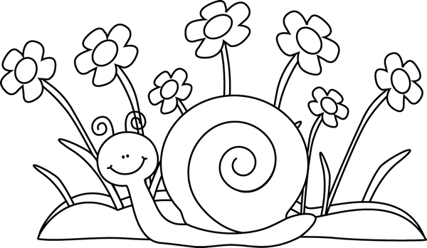 Black and White Snail and Flowers - PNG Snail Black And White