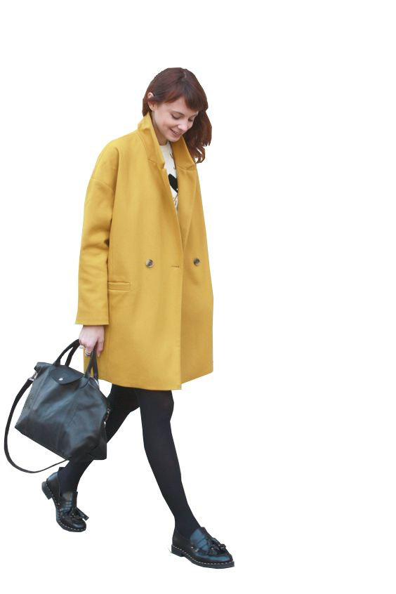 cutout women yellow coat - PNG Someone Walking