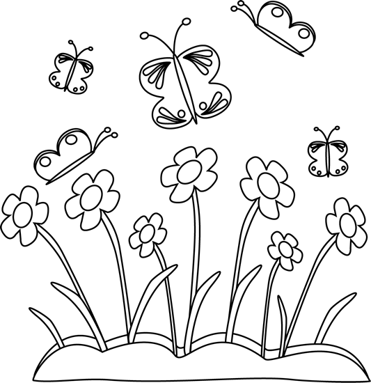 Black and White Spring Flowers and Butterflies - PNG Spring Black And White