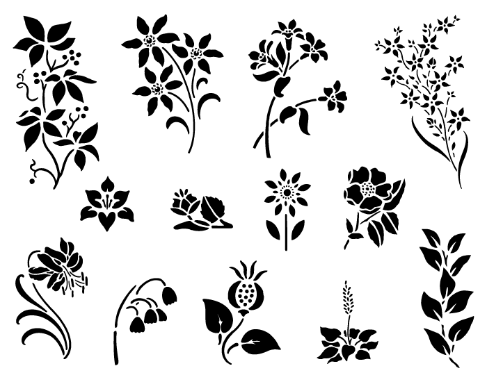 Vector Spring Flowers in black u0026 white - PNG Spring Black And White
