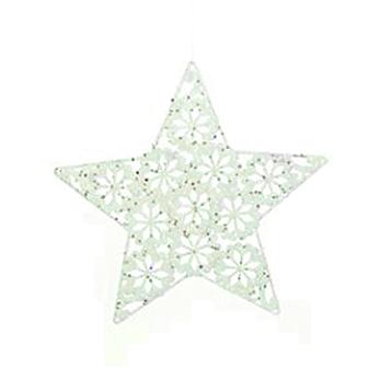 Hvid stjerne m. glimmer - PNG Stjerne
