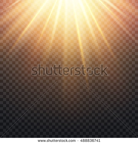 Realistic transparent yellow sun rays, warm orange flare effect isolated on  checkered background. Sunshine - PNG Sun Rays