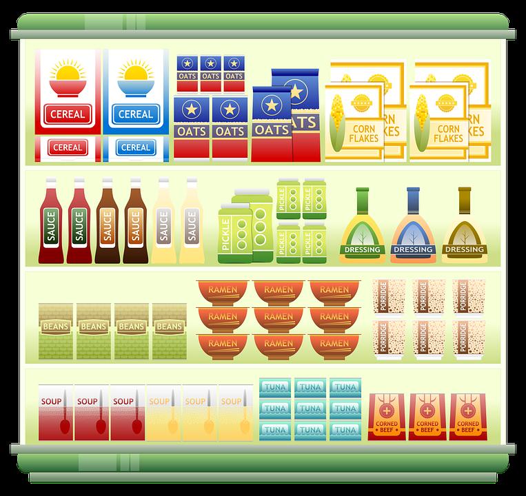 Supermarket Shelf, Food, Cereal, Grocery, Noodles - PNG Supermarket