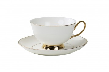 Buy online now Teacup and Saucer - white and gold Sunday Best $ - PNG Tea Cup And Saucer