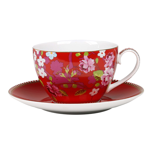 Buy PiP Studio Cappuccino Cup and Saucer, red, Chinese Rose | online at  TwiningsTeaShop - PNG Tea Cup And Saucer