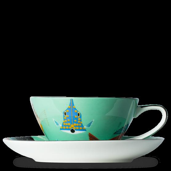 . PlusPng.com T2 Charley Harper Aqua Cup And Saucer PlusPng.com  - PNG Tea Cup And Saucer