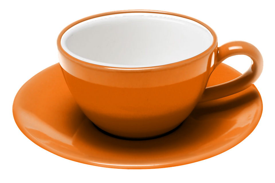 teacup coffee saucer expresso procel orange - PNG Tea Cup And Saucer