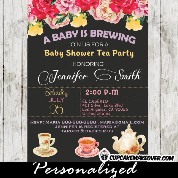 floral vintage tea party baby shower invitations - PNG Tea Party Invitation