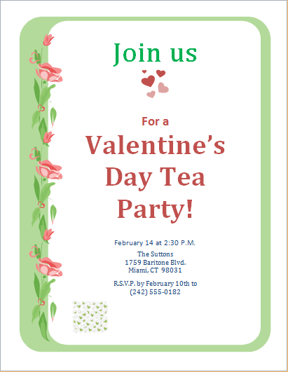 valentines day tea party invitation - PNG Tea Party Invitation