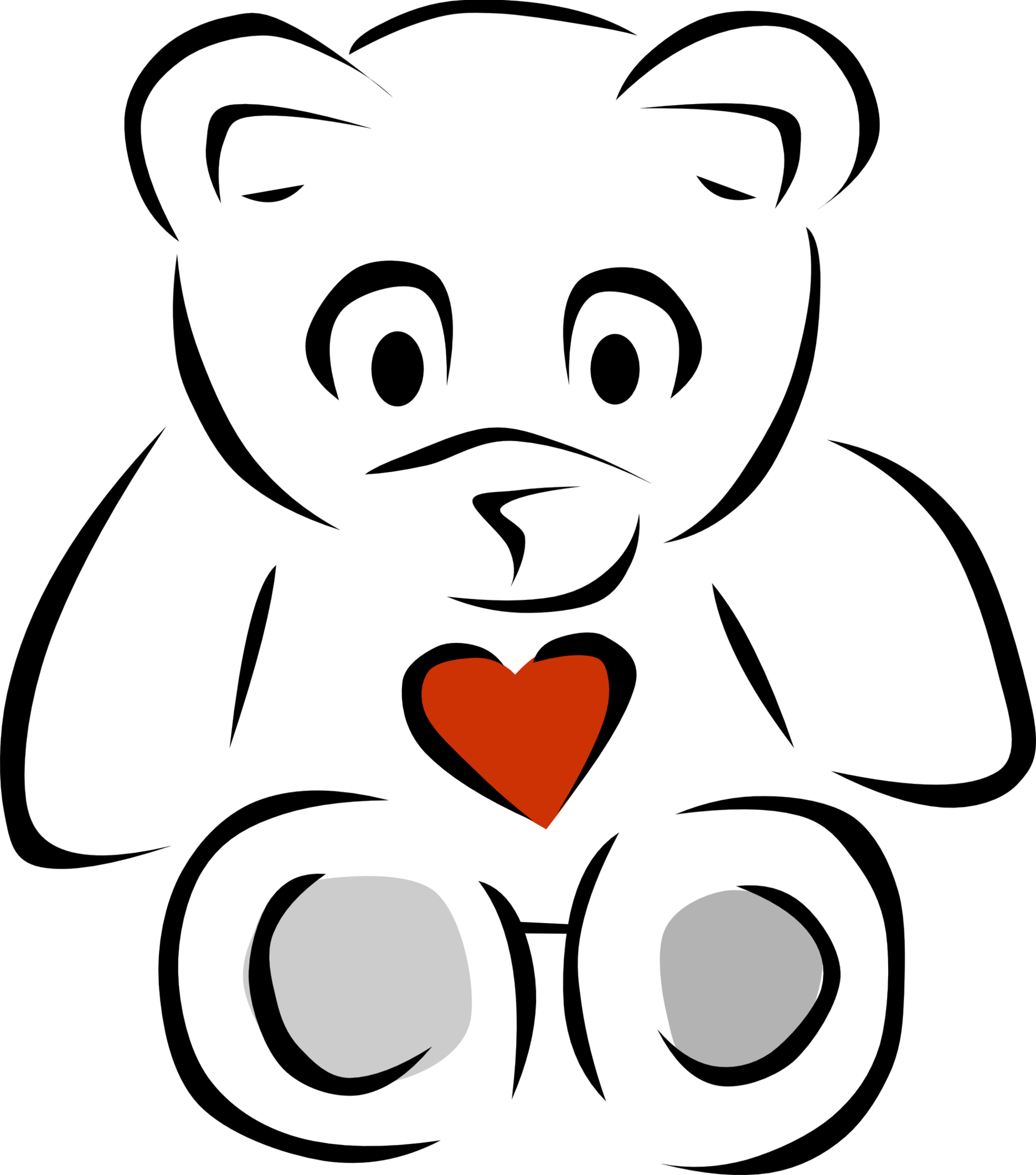 PNG Teddy Bear Black And White - 59058