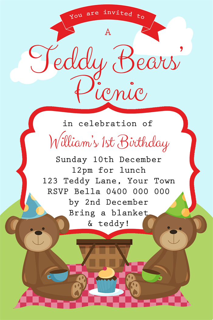 Boys Birthday Invitation- Teddy Bears Picnic - D01 - PNG Teddy Bear Picnic