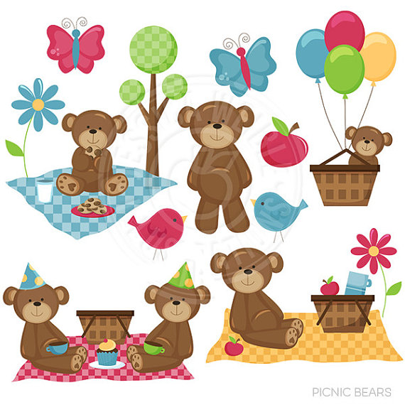 Picnic Bears Cute Digital Clipart - Commercial use OK - Bear Picnic  Clipart, Picnic Graphics, Cute Bears, Picnic clip art, summer graphics - PNG Teddy Bear Picnic