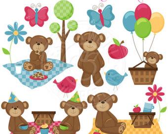 Teddy Bear Picnic Clip Art | Picknick Bären Cute Digital Clipart -  kommerzielle Nutzung OK - PNG Teddy Bear Picnic