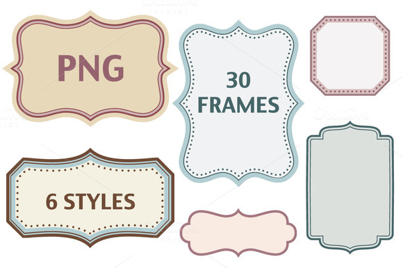 30 color frames in 6 styles - PNG - PNG Text Frames