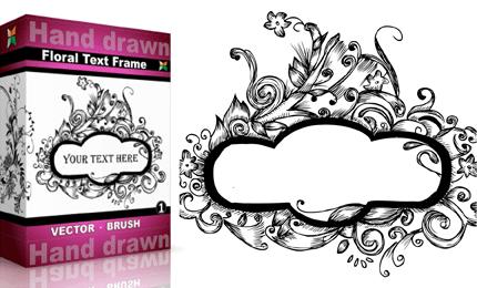 Hand Drawn Floral Text Frame u2013 Set.4 | Vol : 1 - PNG Text Frames