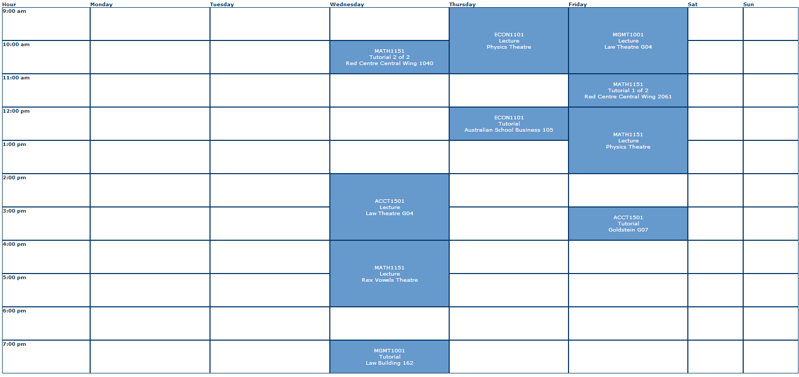 UNSW Sem1 Timetable.PNG - PNG Timetable