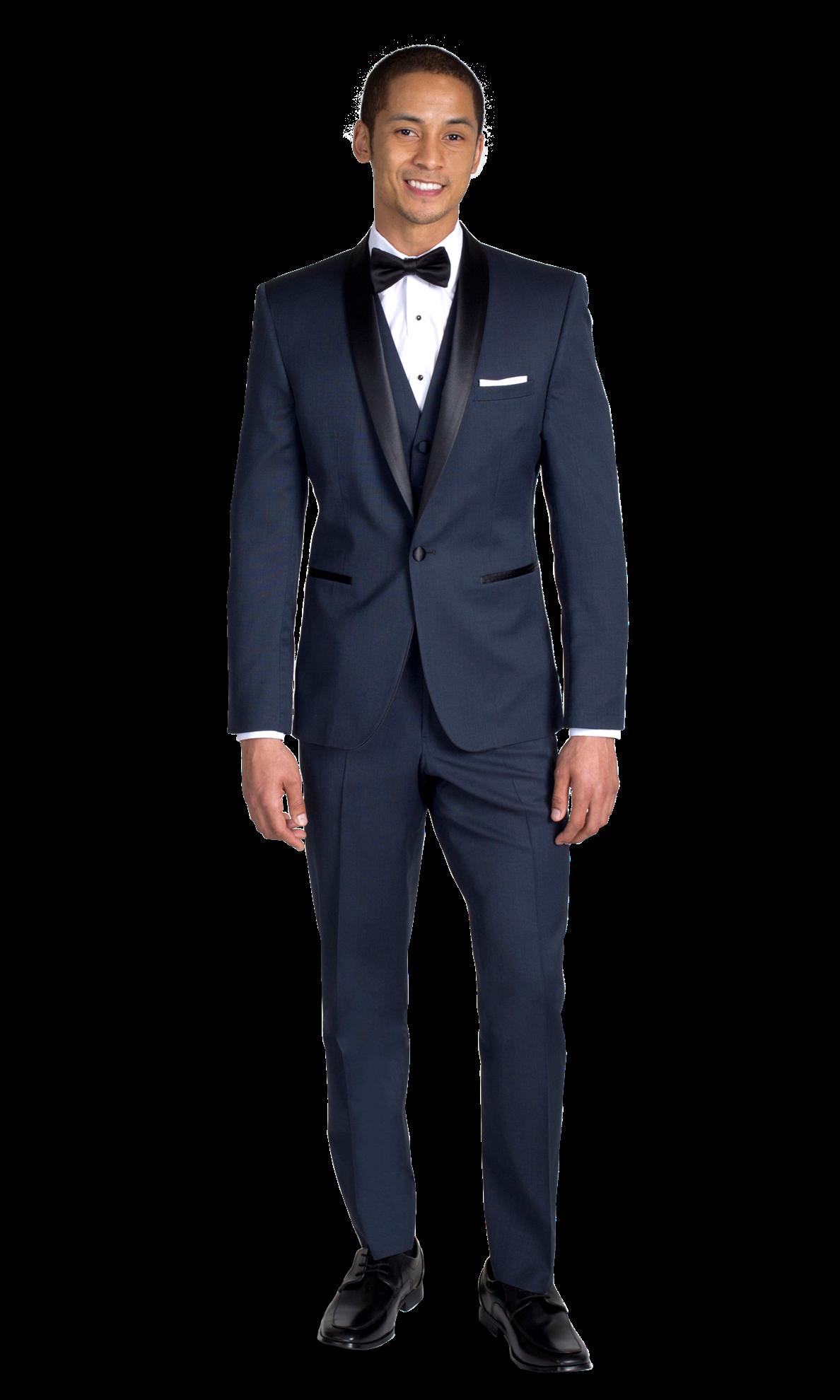 Navy Shawl Lapel Tuxedo - Front View - PNG Tuxedo
