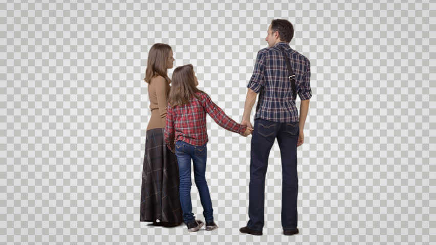 3 people: man, woman u0026 girl stand side by side, wait, talk - PNG Two People