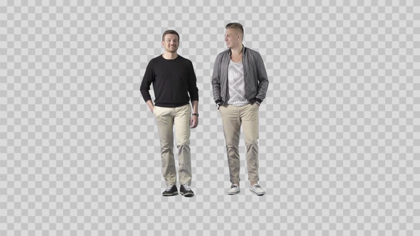 Two friends in casual clothes are walking at the camera, talking, joking  smiling. - PNG Two People Talking