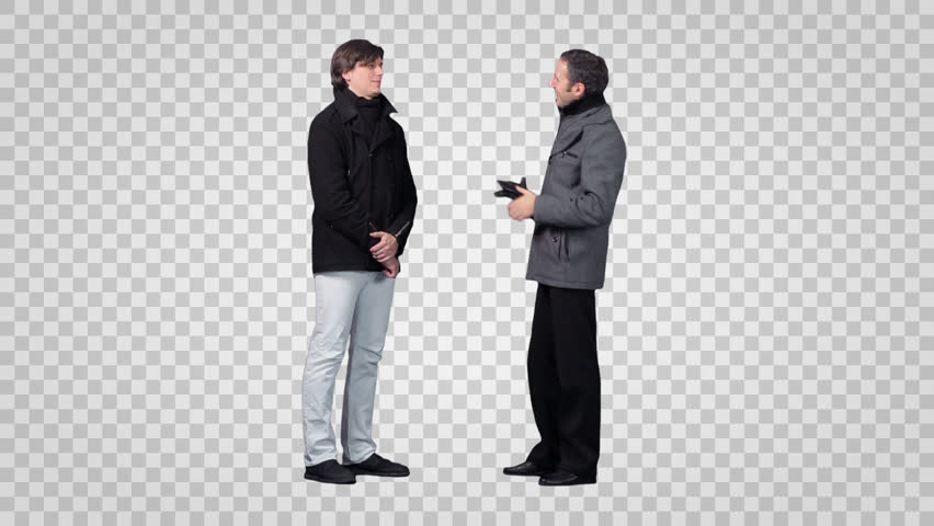 Two men standing u0026 talking (in winter clothing). Footage with alpha channel. - PNG Two People Talking